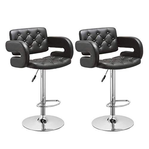 New Redgiants Modern PU Leather Adjustable Swivel Barstools with Back, Set of 2, Counter Height Swiv...