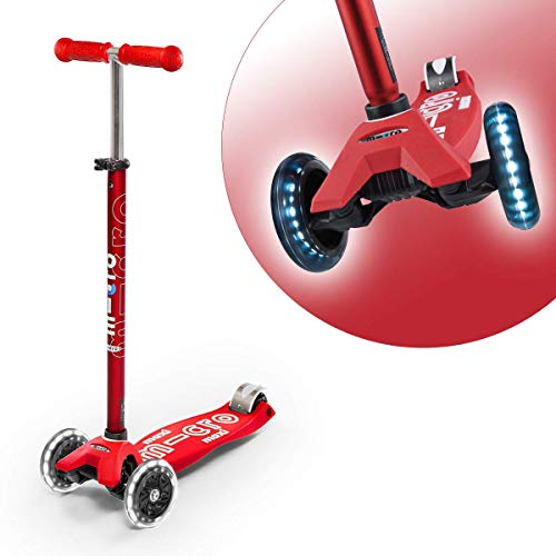 Micro Kickboard - Maxi Deluxe LED 3-Wheeled, Lean-to-Steer, Swiss-Designed Micro Scooter for Kids with LED Light-up Wheels, Ages 5-12 - Red