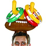 Wembley Inflatable Football Ring Toss Party Hat Game with 3 Score Rings and Football Gridiron Goal, Perfect for Super Bowl, Tailgate Parties, College Games, Head-to-Head Team Play for All Ages