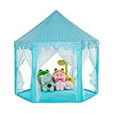 CHENYI Tienda de campaña para niñas con bolsa de transporte, castillo de princesa, casa de juegos para interiores y exteriores, juguete para niños y niñas a partir de 3 años, 130 x 130 x 130 cm (azul)