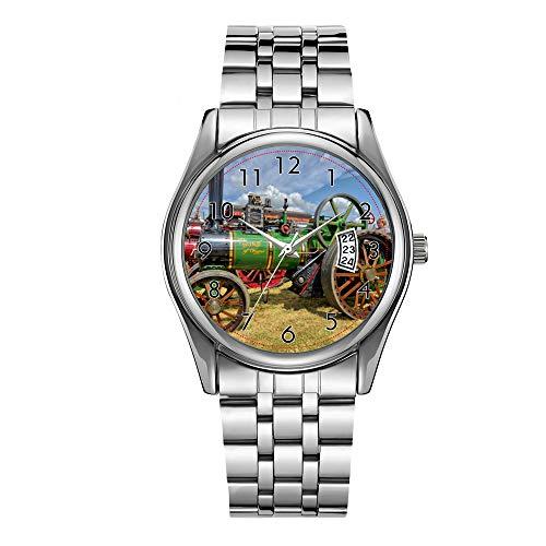 Christmas Luxury Steel Men Watch Fashion Male Date Calendar Clock Sports Watchband Waterproof Man Quartz Wrist Watches Steam Traction Engine Wristwatch