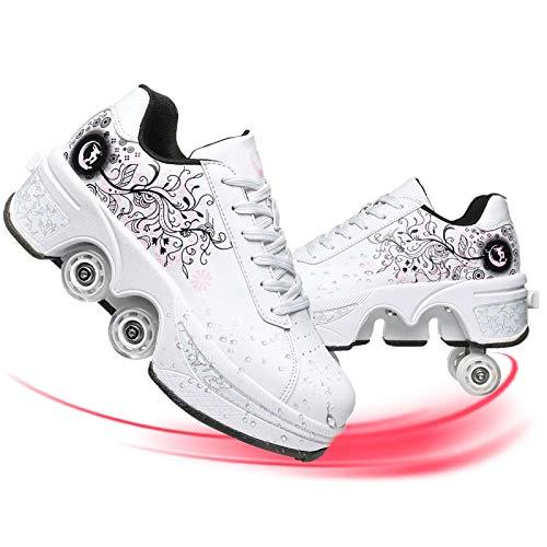 YUNWANG Multifuncional Deformación Zapatos De Patinaje Patinaje sobre Ruedas Patines En Paralelo Patines De Hielo Polea CómodosyFácilesDePoner