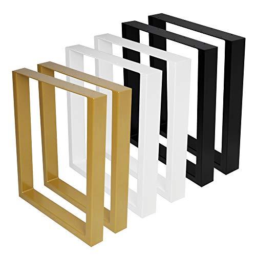 2x Tischkufen Tischbeine Tischuntergestell Schwarz Industrial Weiß alle Größen (B40 x H42 cm (Bank), Industrial (Klarlack))