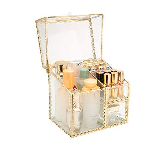 Summerone glazen lade cosmetische opbergdoos met gouden bekleding decoratieve kast decoratieve aanrecht sieraden opbergdoos