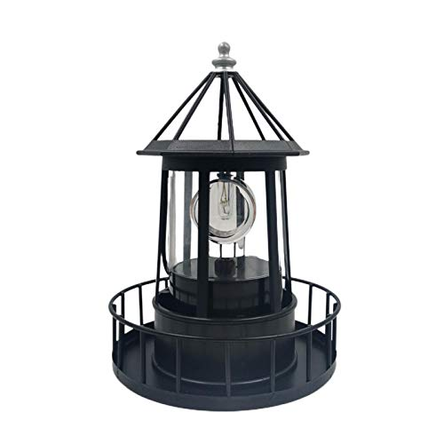 CALIDAKA LED Solar Powered Lighthouse,360 Degree Rotating Lamp Waterproof Garden Smoke Towers Statue Lights for Outdoor Garden Pathway Patio Courtyard Decoration, Black