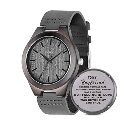 Men Wood Watch, Bymax Handmade Vintage Analog Quartz Wooden Wrist Watches with Leather Strap Band Black (for Boyfriend)