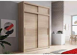 E-MEUBLES Armoire de Chambre avec 2 Portes coulissantes + avec Espace de Stockage supplémentarie| Penderie (Tringle) avec ...