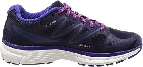 Salomon Women's Sonic Road Running Shoe, Evening Blue / White / Spectrum Blue, 8