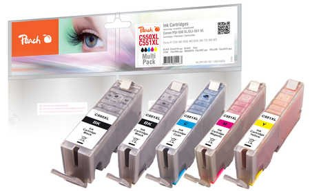 Peach Spar Pack Tintenpatronen XL-Ergiebigkeit, kompatibel zu Canon PGI-550XL, CLI-551XL