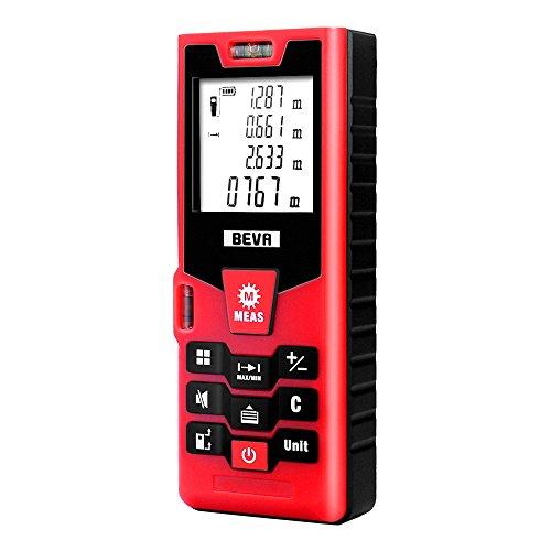 BEVA Laser Entfernungsmesser 40M, Laser Messgerät Distanzmesser, Fläche und Volumen (0.05 bis 40m/±2mm mit LCD Hintergrundbeleuchtung 2 Level Blasen Messeinheit, Staub- und Spritzwasserschutz IP54)