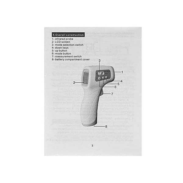 ZXPAG Term/ómetro de Frente Pistola term/ómetro infrarrojo para medir la Temperatura del Cuerpo Humano Digital l/áser infrarrojo la Temperatura del term/ómetro sin Contacto del Arma port/átil