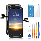 Yodoit for iPhone X OLED Display Screen Replacement [NOT LCD] 3D Touch Screen Digitizer Glass Assembly 5.8 inch Black, with Repair Tool Kit, Tempered Glass, Compatible with Model A1865, A1901, A1902