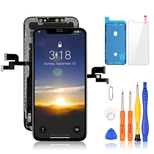 Yodoit Pantalla OLED para iPhone X Reemplazo Negro, 5.8 Pulgadas Display y Digitalizador Táctil Vidrio con Herramientas, Cristal Templado, Compatible con Modello A1865, A1901, A1902