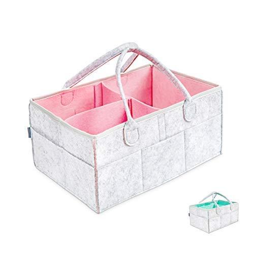 Cestino Portaoggetti - Cestino Regalo per Baby Shower | Immagazzinaggio della Scuola Materna, Organizzatore del Pannolino, Lista di Nascita, Sacchetto di Immagazzinaggio (Rosa)