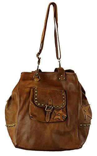 BZNA Bag Maja Cognac Italy Designer Damen Handtasche Ledertasche Schultertasche Tasche Leder Shopper Neu