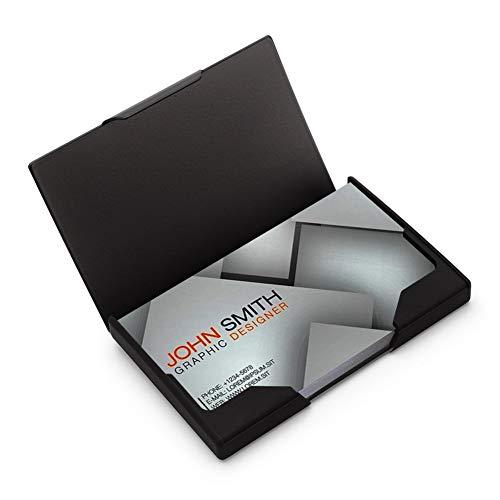 Sooez Business Card Holder, Metal Business Card Case Slim Stainless Steel Card Holders Name Card Box Credit Card Carrier, Stainless Steel & ABS with Black Titanium Coating, Matte Black