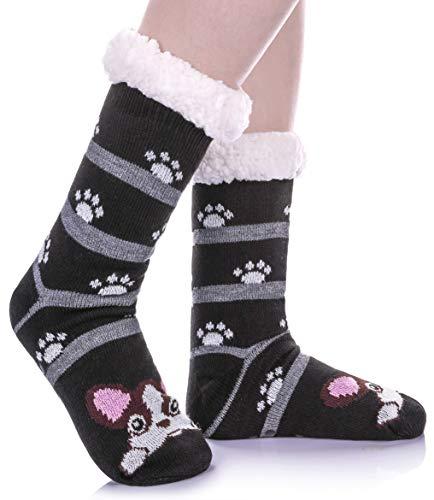 Womens Sherpa Winter Fleece Lining Knit Animal Socks Non Slip Warm Fuzzy Cozy Slipper Socks (Dog)