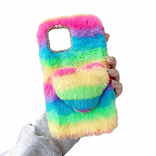 Miagon Coloré Peluche Fourrure Coque pour Samsung Galaxy A72 4G/5G,Kawaii Étui de Protection Hiver Chaud Souple Poilu Doux Housse Cover avec 3D Cœur