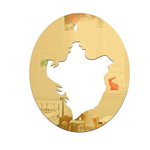 Chlyuan-hm Spiegel-Wandaufkleber 3D Acryl Moderne Spiegel Wandaufkleber Schatz DIY Wandtattoo Home Raumdekoration Home Room Decors Abziehbilder (Farbe : Gold)