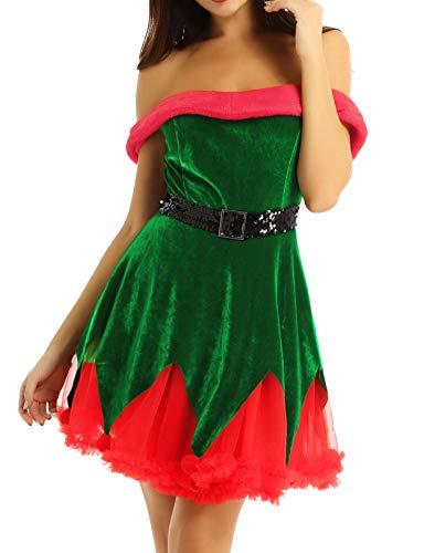 CHICTRY Damen Elfen-Kostüm Weihnachtskostüm Xmas Elf Outfit Wichtel Weihnachtself Kostüm Samt Kleid Partykleid Karneval Halloween Party Verkleidung Grün Large