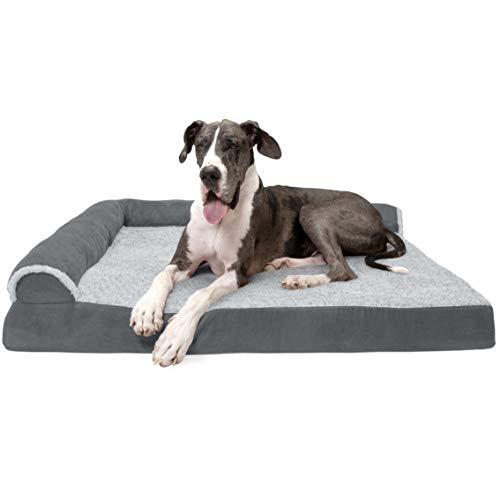 Furhaven Orthopedic Pet Bed for Dogs and Cats - L Chaise Sofa Plush Fur and Suede Couch bed with Removable Washable Cover, Two-Tone Stone Gray, Jumbo Plus (XX-Large)