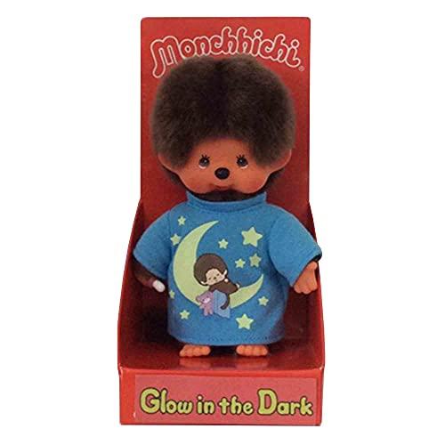 Sekiguchi 223725 Original Monchhichi Junge, aus braunem Plüsch, mit blauem Schlafshirt und Glow in The Dark Elementen, ca. 20 cm