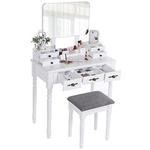 ANWBROAD Tavolo Cosmetici Vanity toeletta Toletta tavolino da Trucco con Sgabello Tavolo per Cosmetici specchiera con 7 cassetti 3 divisori, Specchiera Tavolo Cosmetici Vanity toeletta Bianco BDT03W