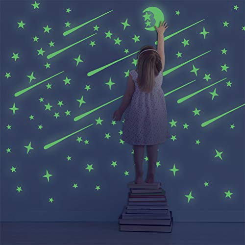 207 Pcs Luminoso Pegatinas de Pared Pegatinas de Pared Fluorescentes Brillante Estrellas y Luna Pegatina de Pared para Dormitorio de Niños para Chico Niña Bebé, Casa Interior Mural