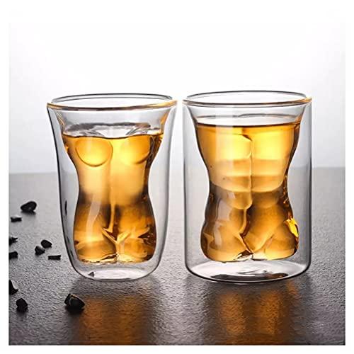 Vasos de whisky Copas de licor de brandy de cristal de doble capa Copas de agua para cócteles Cristalería para beber Perfecto para regalos del día del padre Barras de fiesta Hogar Belleza / Macho Jueg
