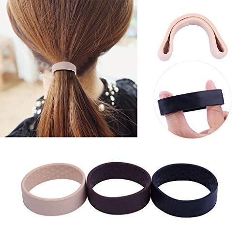 2PCS Silikon Faltbares Haargummis Gummibänder Haarband Elastisches Haarband | Zopfband ist als Haarschmuck ohne Metallbügel bestens für Damen & Mädchen Geeignet