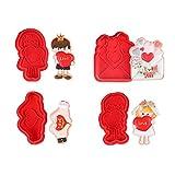 FECHO los cortadores de Galletas de San Valentín con Cortador de Galletas de corazón de Color Rojo para Hornear y Decorar el Pastel