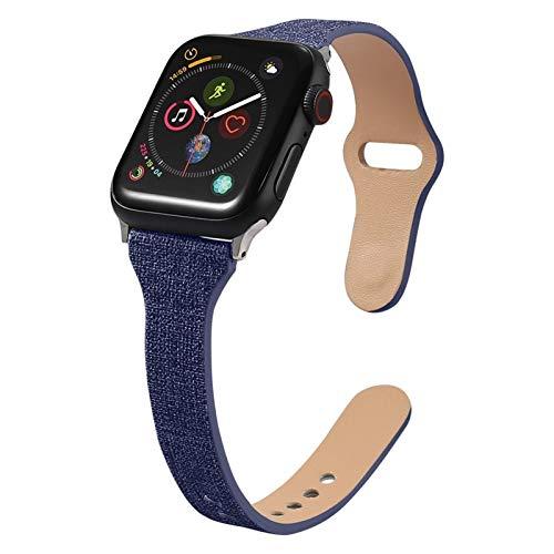 Cuero Correas Compatible con Apple Watch 38mm/40mm 44mm/42mm, Ajustable Banda Correa Deportivo Pulseras de Repuesto para iWatch Series 6/5/4/3/2/1/SE Mujer y Hombre, Negro