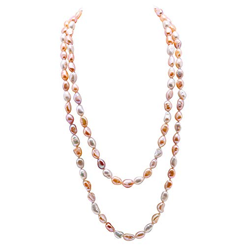 JYX Collana lunga di perle d'acqua dolce 7-8 mm irregolare collana di perle coltivate da donna 121,9 cm e Senza metallo, colore: Multicolore 2., cod. FNO936