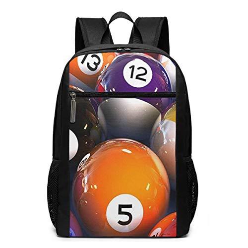 Schulrucksack Funky Billardkugeln, Schultaschen Teenager Rucksack Schultasche Schulrucksäcke Backpack für Damen Herren Junge Mädchen 15,6 Zoll Notebook