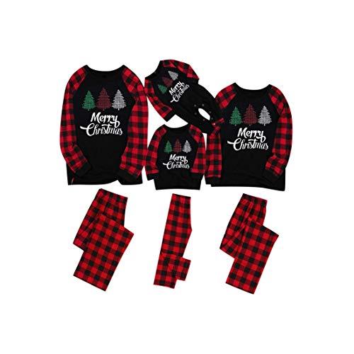 Hunpta - Conjunto de pijama a juego para familia, pijamas de Navidad, para parejas, pijamas de manga larga, blusa y pantalones, mameluco para mujeres, hombres, niños y bebés (niños de 2 años)