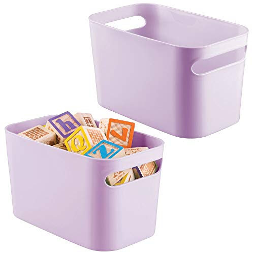 mDesign Plastic Toy Box Storage Organizer Tote Bin with Handles for Child/Kids Bedroom, Toy Room, Playroom - Holds Action Figures, Crayons, Building Blocks, Crafts - 10 Inches, 2 Pack - Light Purple