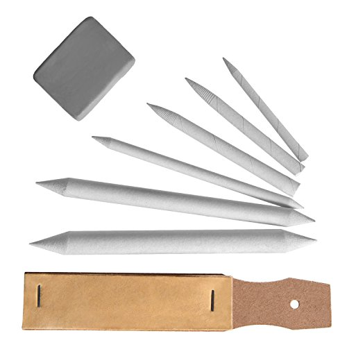 Set Accessori di Disegno Sfumino di Miscela e Penna Tortillion Carta Vetrata Puntatore con Gommapane, 8 Pezzi