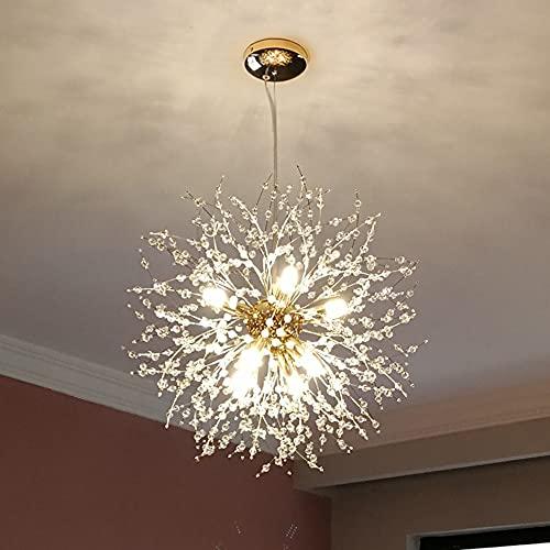 Goomavi Modern Firework Gold Crystal Chandelier ,Sputnik Dandelion Chandelier Pendant Lighting, Ceiling Hanging Light Fixture for Bedroom, Foyer, Hallway, Entryway, Kitchen,Dining Room,- 8 Lights