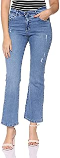 Andiamo Fashion High-Rise Faded Ripped Flared Jeans for Women - Blue, 32