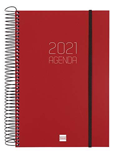 Finocam - Agenda 2021 1 Día página Espiral Opaque Burdeos...