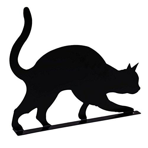Gartenfigur Katze Metall schwarz H 36,5 cm Terrasse Garten Deko
