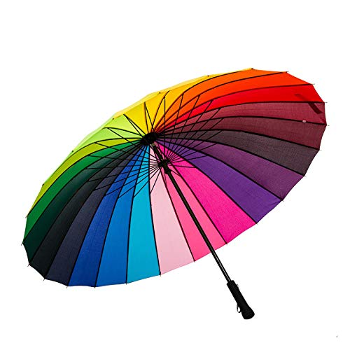 ThreeH Sonnenschirm Stockschirm 24 Rippen Groß Automatik Sturmfester Stabil Hochwertiger Golf Regenschirm KS07,Rainbow