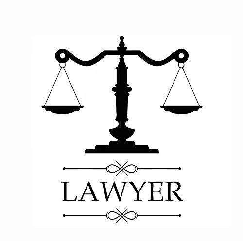 Nieuw design advocatenkantoren teken advocaat vinyl sticker gepersonaliseerde sticker bedrijfsnaam weegschaal rechtvaardigheid raam decoratie 67 * 57 cm