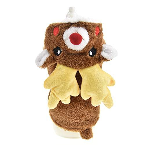 Weihnachtskostüm für Hunde und Katzen, Rentier-Kostüm mit Geweih, lustiges Haustier-Outfit, Cosplay-Kleid, Winter-Welpen-Fleece-Kapuzenmantel, L, braun