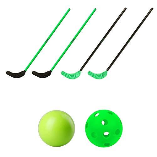 TOOLZ Hockey Set Kinder mit 4 Hockeyschlägern (70cm lang) + 1 Hockeyball gelocht + 1 Hockeyball PVC - Straßenhockey, Rollhockey, Hallenhockey, Schulhockey, Indoor & Outdoor geeignet
