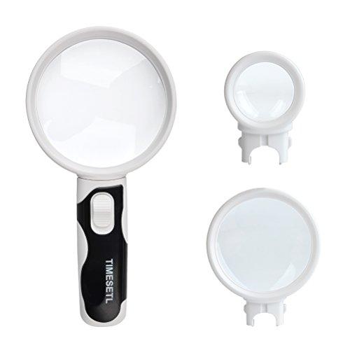 TIMESETL 2.5X 5X 16X Leselupe mit Licht - Tragbare LED Lupe Handlupe Vergrößrungglas Lesevergrößerungsglas für Senioren, Lesen, Inspektion, Hobby, Handwerk, Uhrmacher, Münzen, Objektiv Schmuck