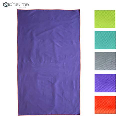DHestia - Toalla de Microfibra Flash Ligera Secado Rápido. Varias Medidas y Colores Flúor. (Lila Flúor, 90x40 - Gimnasio)