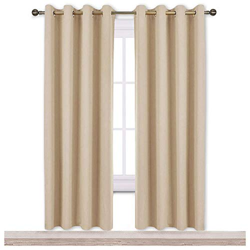 NICETOWN Blackout Draperies Curtains Panels - Window Treatment Thermal Insulated Solid Grommet Blackout Curtains/Panels/Drapes for Bedroom (Set of 2 Panels, 52 by 72 Inch, Biscotti Beige)