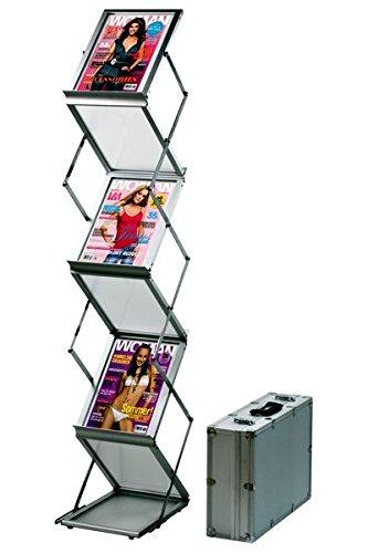 DISPLAY SALES Professionele brochurehouder opvouwbaar zilver | folderrek 6 x DIN A4 van aluminium/acryl | folderstandaard incl. aluminium koffer