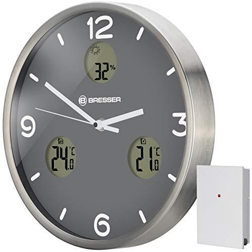 Bresser MyTime io NX Funk-Wanduhr mit Thermometer und Hygrometer - 30 cm Durchmesser, grau, 8020211MGU000